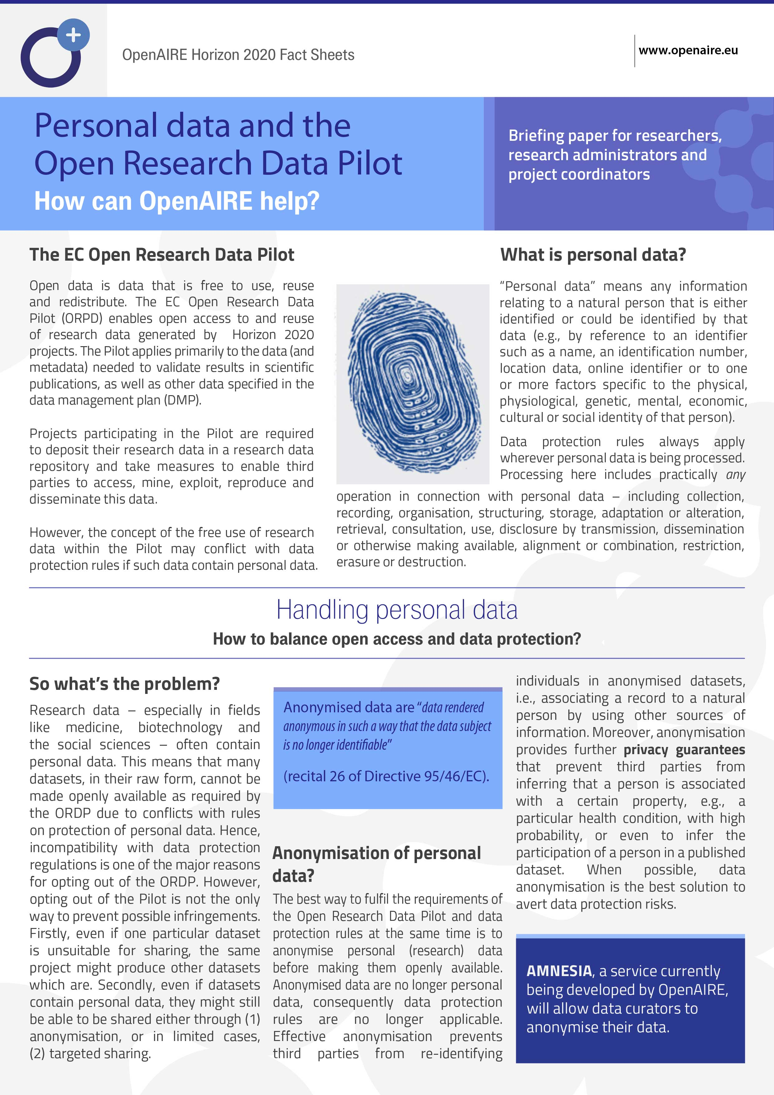 OpenAIRE H2020 Fact Sheet Personal Data 1