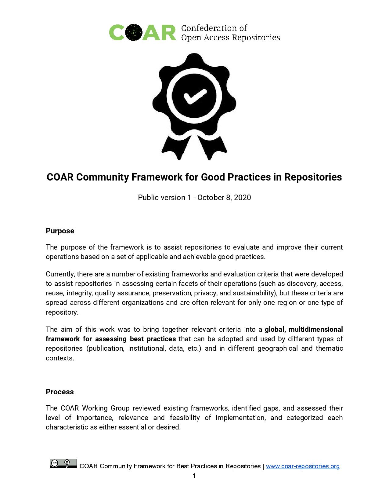 COAR best practices framework for repositories