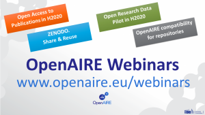 OpenAIRE webinar: Open Research Data Pilot in H2020 and Zenodo