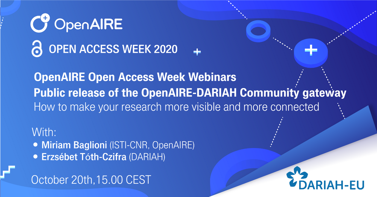 Open Access Week: Public release of the OpenAIRE-DARIAH Community gateway
