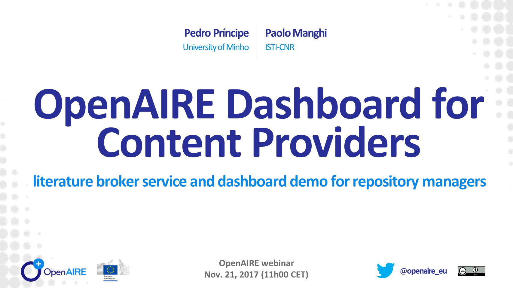 OpenAIRE Dashboard for Content Providers: literature broker service and dashboard demo for repository managers