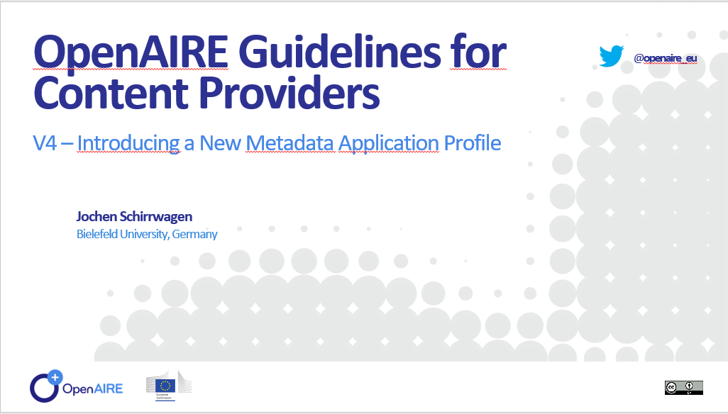 OpenAIRE Guidelines for data providers: new Metadata Application Profile for Literature Repositories