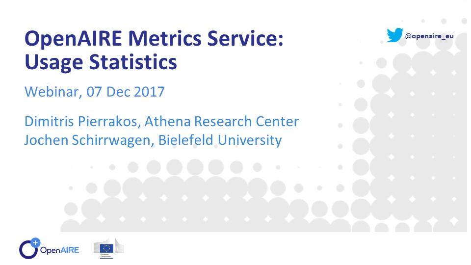 OpenAIRE metrics service: usage statistics